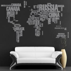 World Map with Country Names Text S..