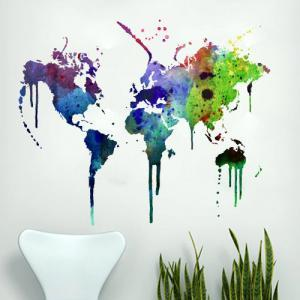 World Map Watercolor Decal for Hous..