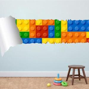 Lego Effect Style Torn Wall Decal V..