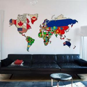 Vintage Flags World Map Art Print S..