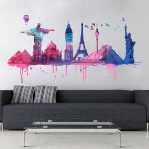 World Travel Watercolor Decal World..