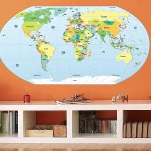World Map Rounded Decal for Housewa..