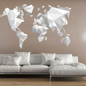 Origami World Map Sticker Decal For Modern Homes Wall