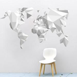 Origami world map sticker decal for modern homes wall decoration origami world map sticker decal for gumiabroncs Choice Image