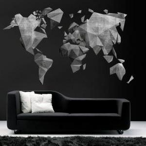 World Map Cement Effect Mid Century..
