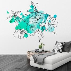 Floral Watercolor Marine Decal Wall..