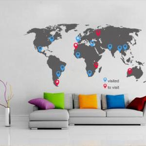 World Map Decal with Pins for House..