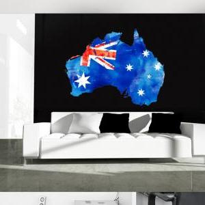 Australia Flag Watercolor Map Decal..