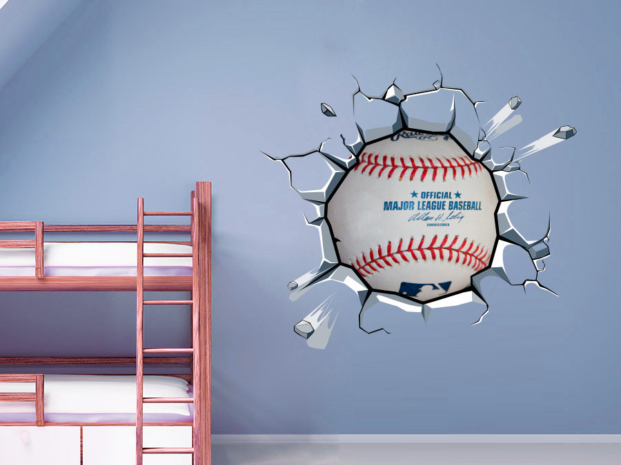 Superb Baseball Decor Ball Cracked Wall Effect Sports Sticker Baseball MLB Wall Art  Decal