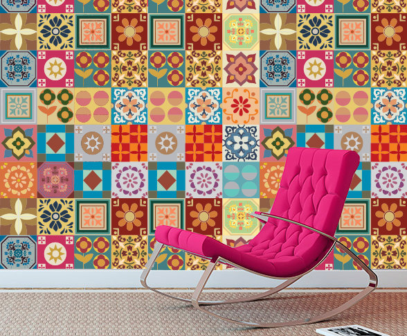 Patchwork Tiles Stickers for mosaic tiles makeover , DIY kitchen or bathroom makeover - Washable and Waterproof