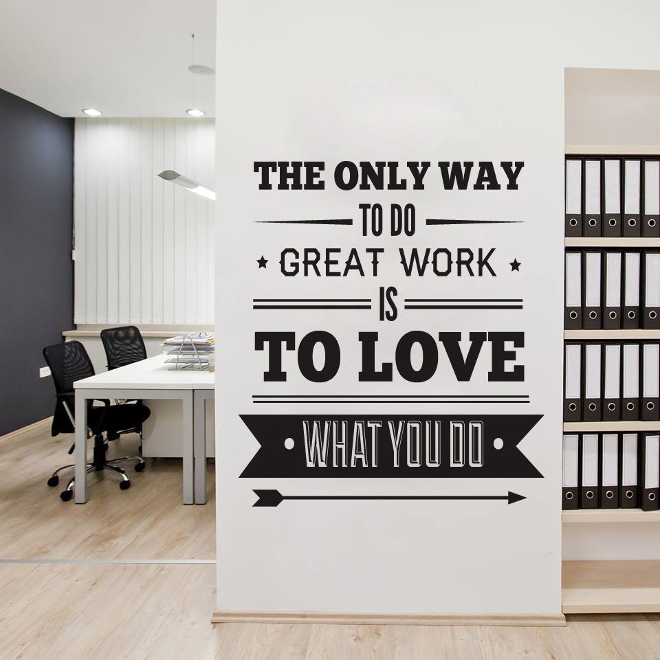 5 Tips How To Decorating An Artistic Home Office: Office Decor Typography Inspirational Quote Wall