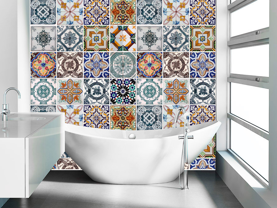 Bon Tile Decals Stickers For Ceramic Kitchen Tiles And Bathroom Tile Stickers    Portuguese Azulejos (Pack