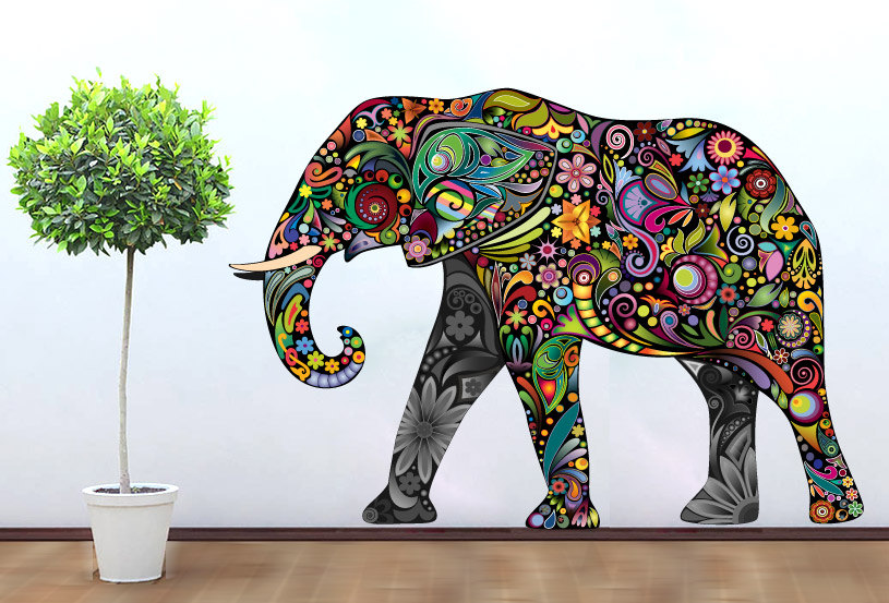 Colorful Floral Elephant Vinyl Wall Art Decal Print Sticker Home Design