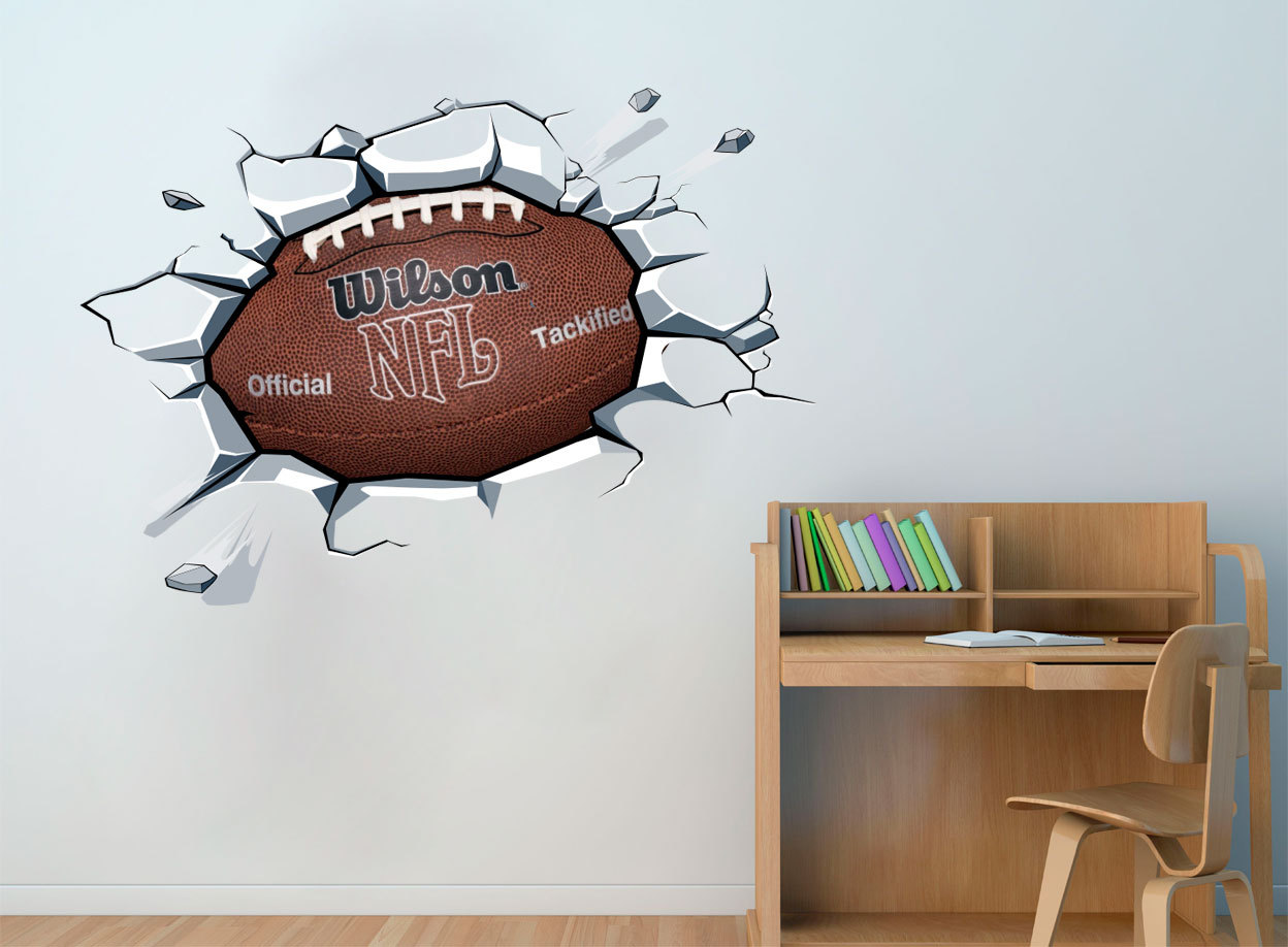 Football Ball On The Wall Decal NFL Superbowl Sticker For Boys Room Decor
