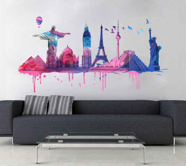 World Travel Watercolor Decal World Wide Monuments Sticker for Housewares