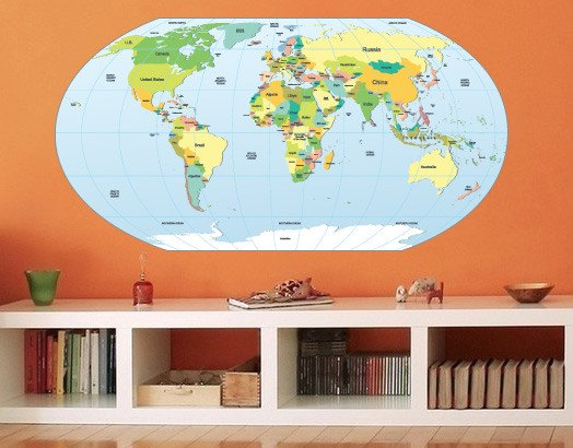 World Map Rounded Decal for Housewares
