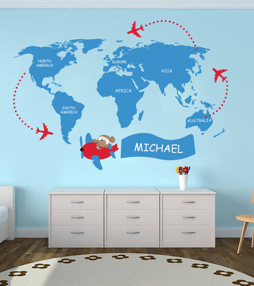 Kids World Map with Custom Name Sticker Decor for Teens
