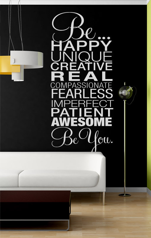 Be Happy, Be You. - Quote Sticker Home Decor for Housewares Vinyl Wall Decal - Be Happy, Be You.