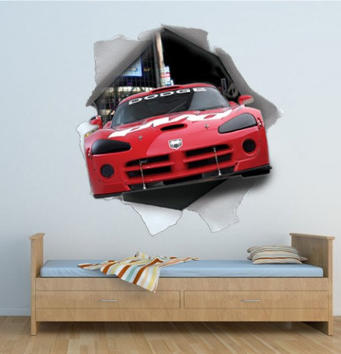 Dodge Viper Wall Torn Effect Decal Urban Sticker for Housewares