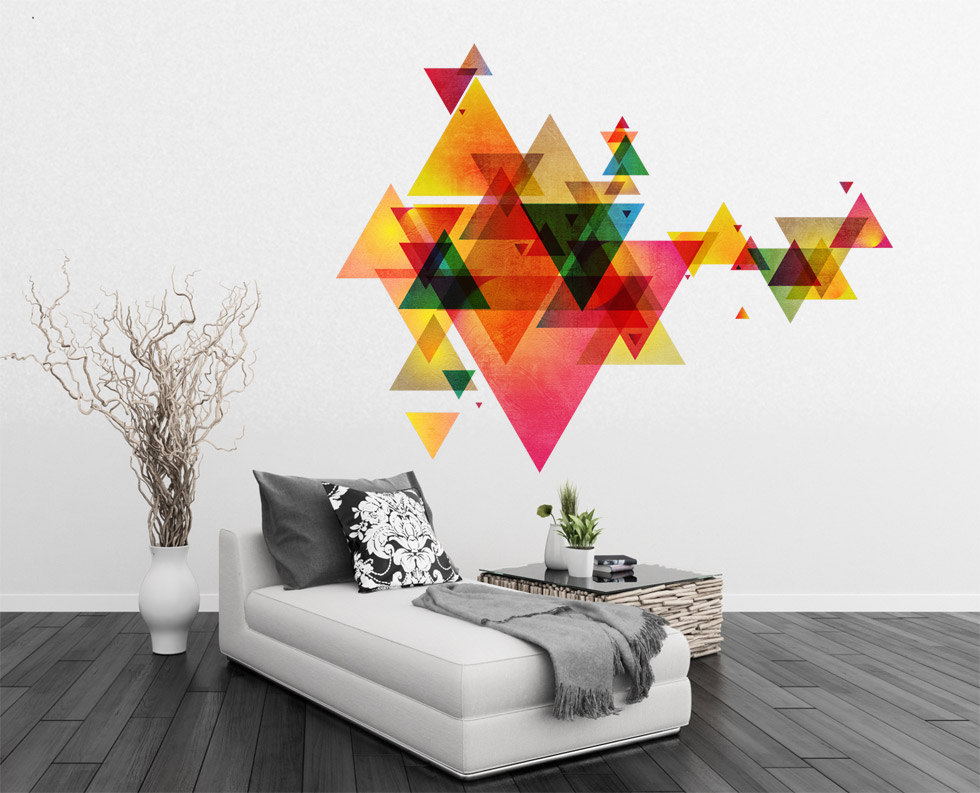 Triangle Decal Geometric Vinyl Wall Art Mid Century Modern Decor  Scandinavian Design Eames