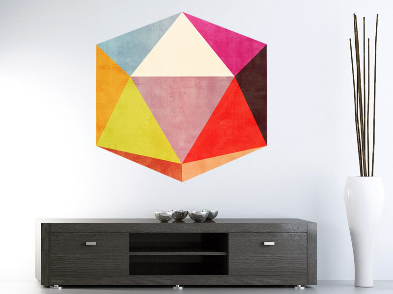 Optical Illusion 3D Shape Effect Wall Decal Geometric Polygon Sticker Mid Century Modern