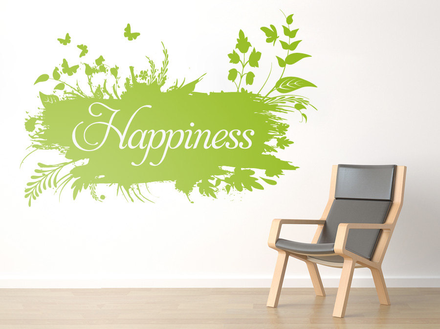 Happiness Floral Wall Art Vinyl With Your Custom Quote Sticker