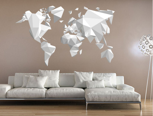 Origami world map sticker decal for modern homes wall decoration origami world map sticker decal for modern homes wall decoration origami design gumiabroncs Gallery