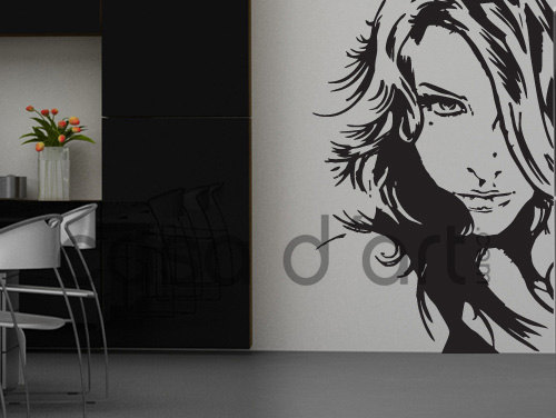 Girl Face Vinyl Decal Profile Sticker Silhouette for Housewares
