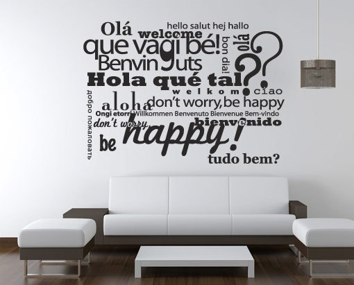 Wall Decal Quotes - Welcome Be Happy Typography Multilingual Sticker ...