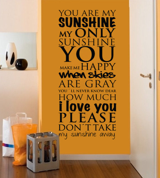 Wall Decal Quotes   You Are My Sunshine Wall Art Quote Typography Lyrics  Sticker Home Decor