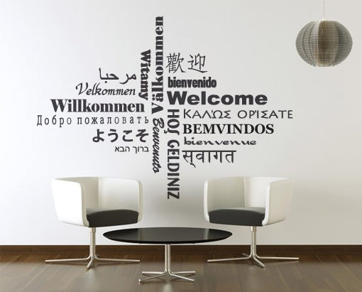 Wall Decal Quotes - Welcome Decal Typography In Different Languages ...