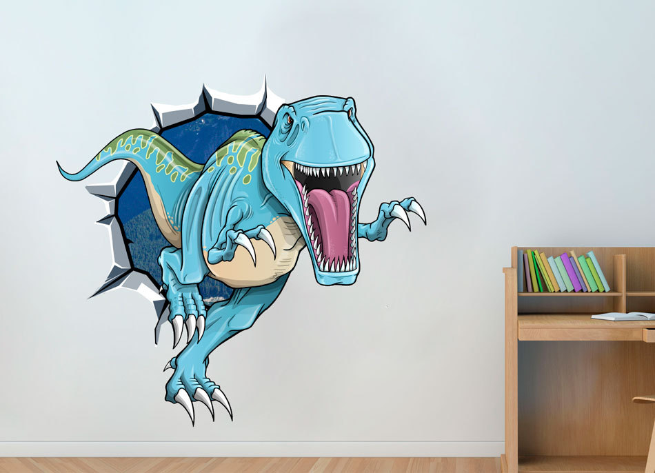 Dinosaur T-Rex Breaking Wall Effect Sticker Home Decor Wall Sticker
