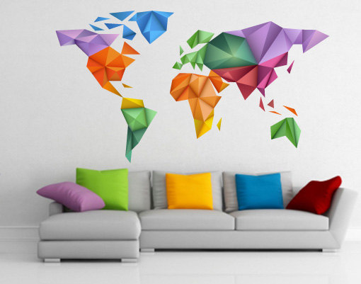 World map japanese art origami wall print design for housewares on world map japanese art origami wall print design for housewares gumiabroncs Gallery
