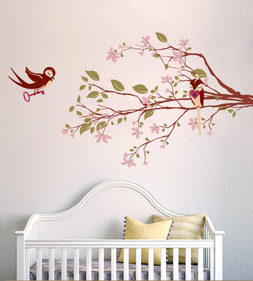 Nursery kids Decal Tree with Loving Birds Wall Decoration