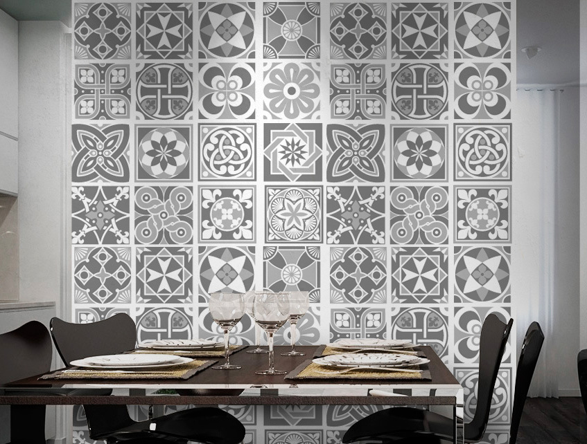 Wall Tile Decoration Sticker Design Grey Scale For Modern Living Room (Pack  With 48)   4 X 4 Inches