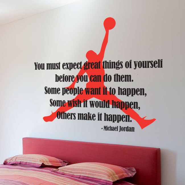 Wall Decal Quotes   Michael Jordan Typographic Famous Quote Sticker Air  Jordan Silhouette Basketball Decal