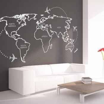 World Map Outlines with Continents Decal Sticker Wall Map Decoration