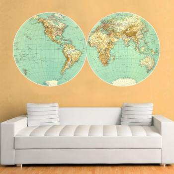 World Retro Vintage Map Antique Wall Sticker for Housewares