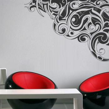Tribal Corner Wall Decal Contours Sticker Outlines for Housewares