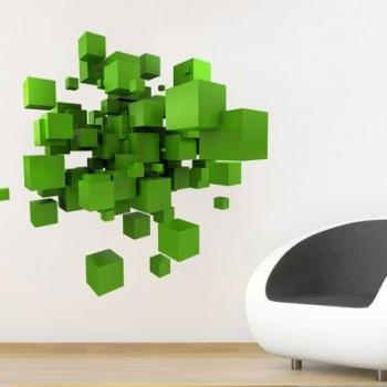 3D Space Cubes Wall Decal Geometric Shape Vinyl Sticker for Modern Homes