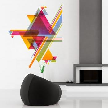 Color Triangles Mid Century Modern Danish Sticker Modernist Eames Abstract Decal