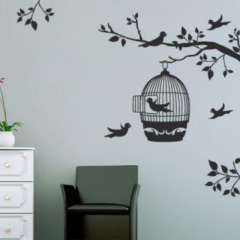 Floral Wall Decal Birds Cage in Tree Sticker Wall Art Vinyl