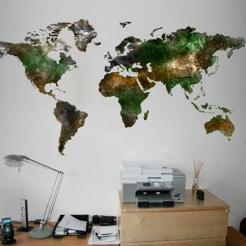 World Map Satellite View Decal for Housewares