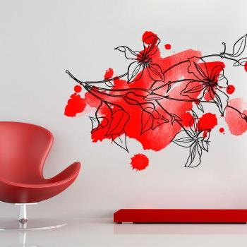 Floral Watercolor Red Decal Home Design Wall Art Print