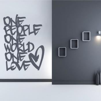 Wall Decal Quotes - One People One Love Quote Decal Text for Modern Living Room