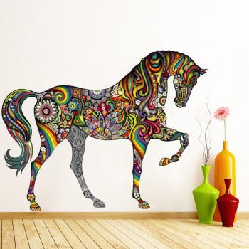 Colourful Floral Horse Wall Sticker Decal for All Modern Home Decoration