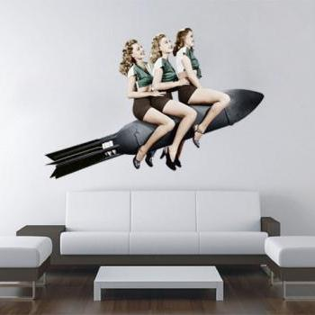 Retro Vintage Womans on a Rocket Wall Decor