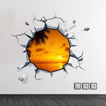 3D Wall Panoramic Image Hole in the Wall Effect Sticker Optical Illusion Decal