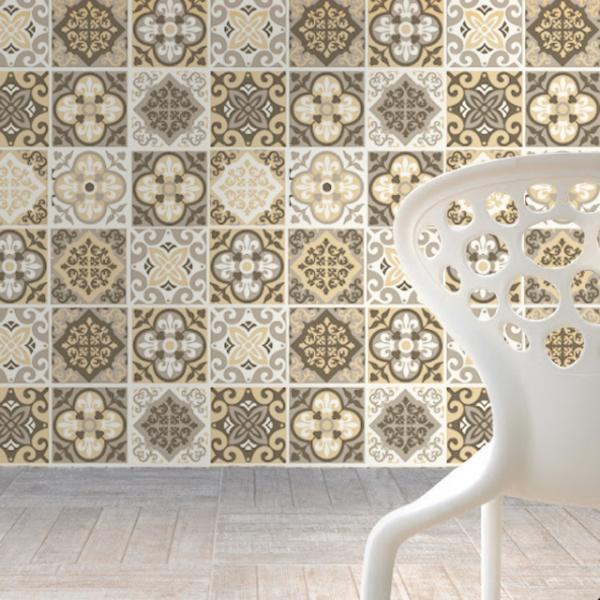 Wall Tile Decals Terra Pedra Patterns for Kitchen Remodel Decor (Pack with 48) - 4 x 4 inches