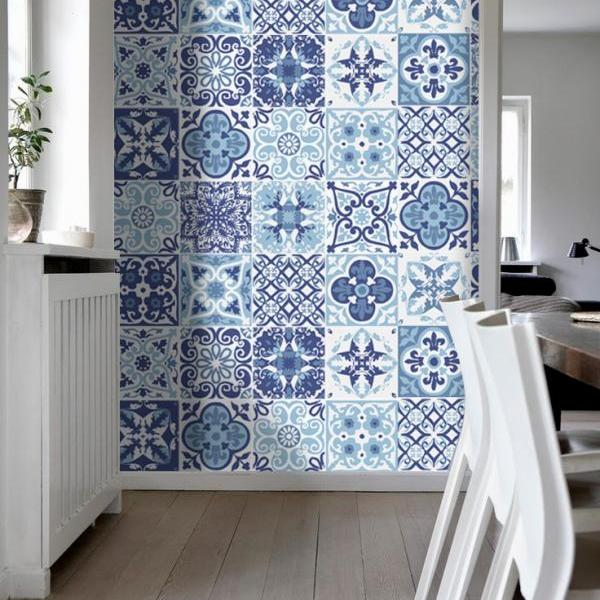 Decorative Coatings Tiles Stickers Blue Portuguese (Pack with 48) - 4 x 4 inches